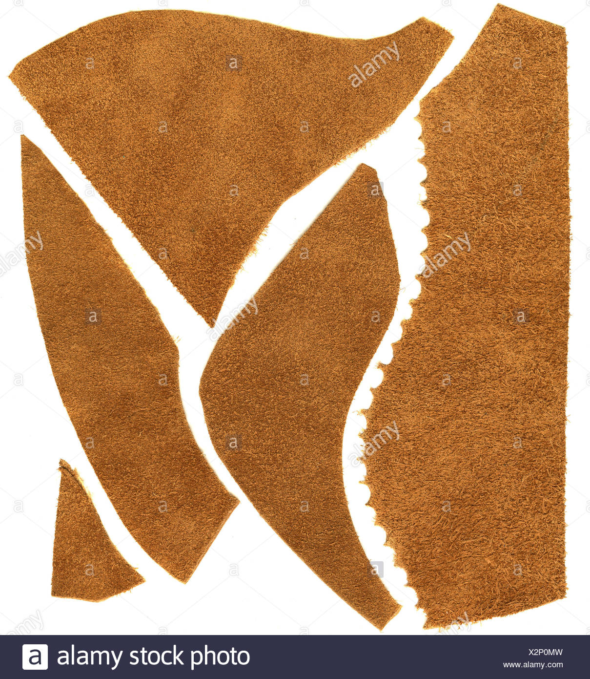 brown brownish brunette rough soft leather scrap unfinished brown brownish - Stock Image