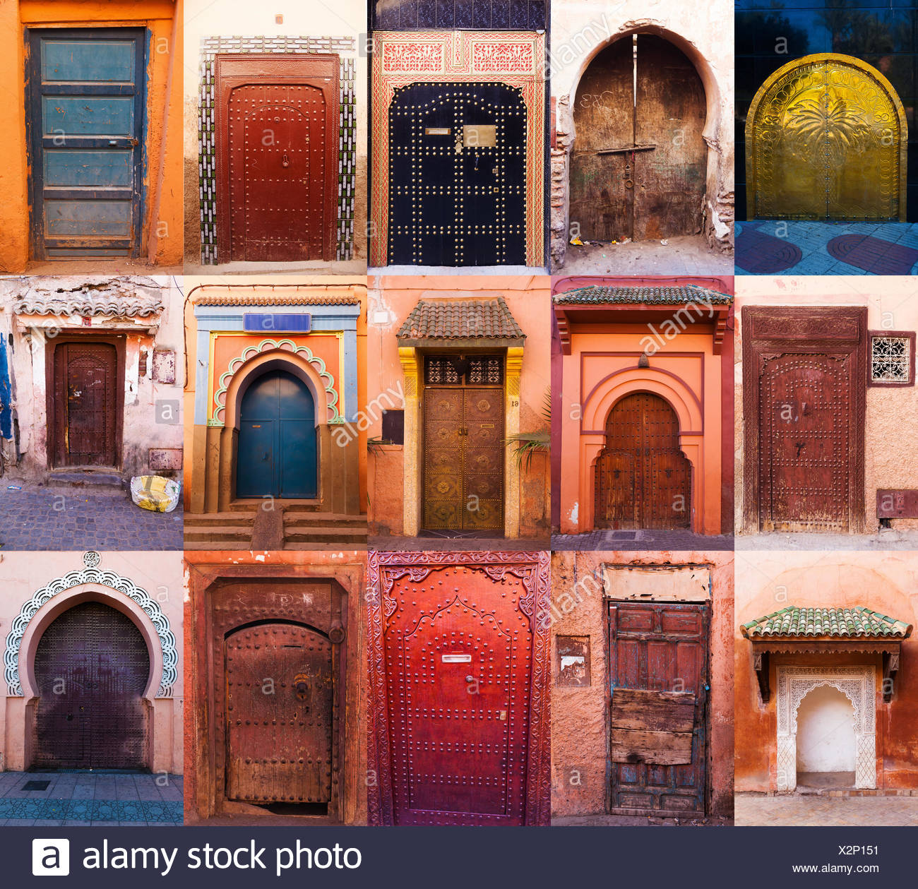 Collage of old doors from Marrakesh - Stock Image