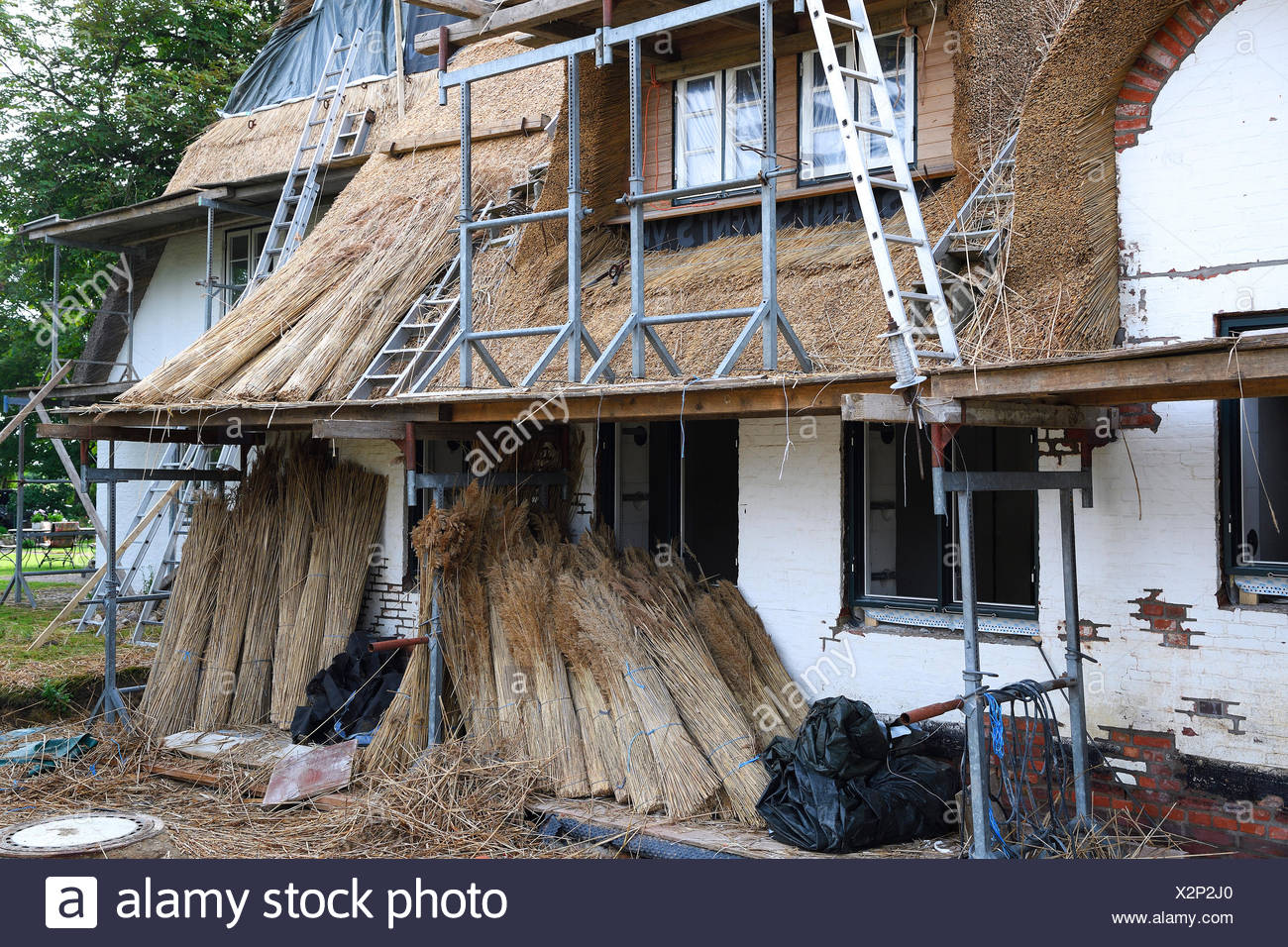 Old Frisian house with thatched roof, new thatching, Keitum, Sylt, North Frisian Islands, North Frisia, Schleswig-Holstein - Stock Image