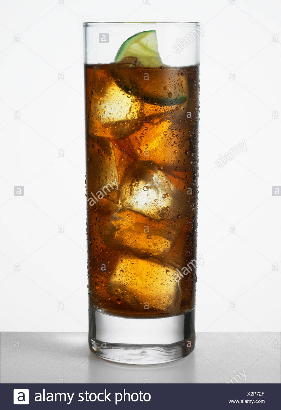 Cola with lime - Stock Image