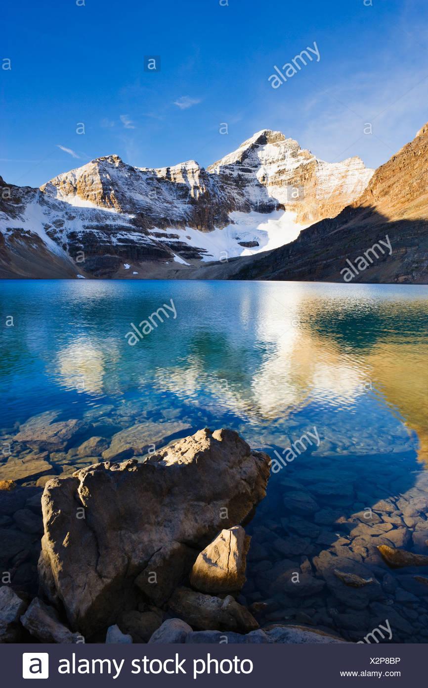 Lake Mcarthur And Mount Biddle At Sunset Yoho National Park British Columbia Stock Photo Alamy