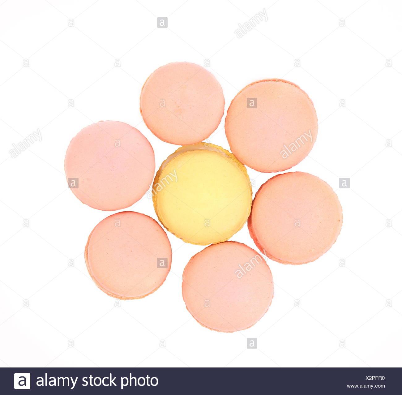 Seven various  macaron cakes. Hexahedron. - Stock Image