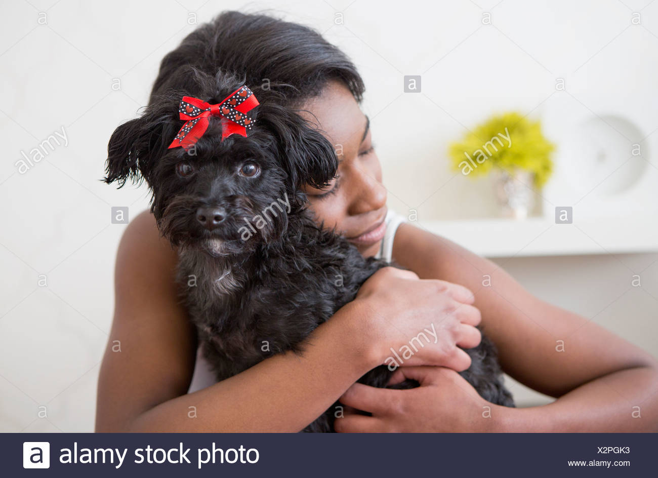 A young girl hugging her small black pet dog. - Stock Image
