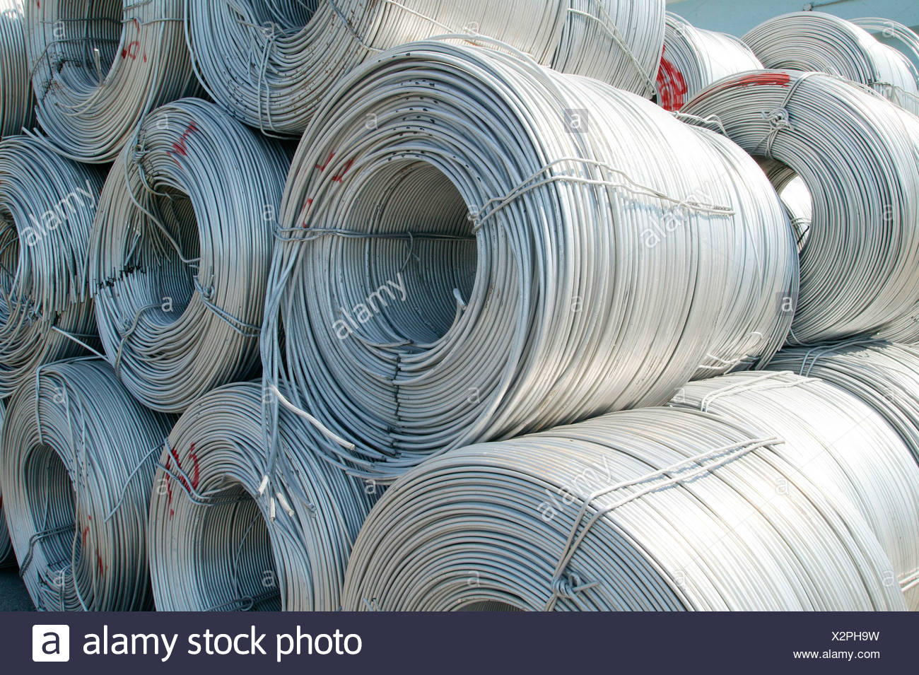 Rolls of Aluminum made from recycled products - Stock Image