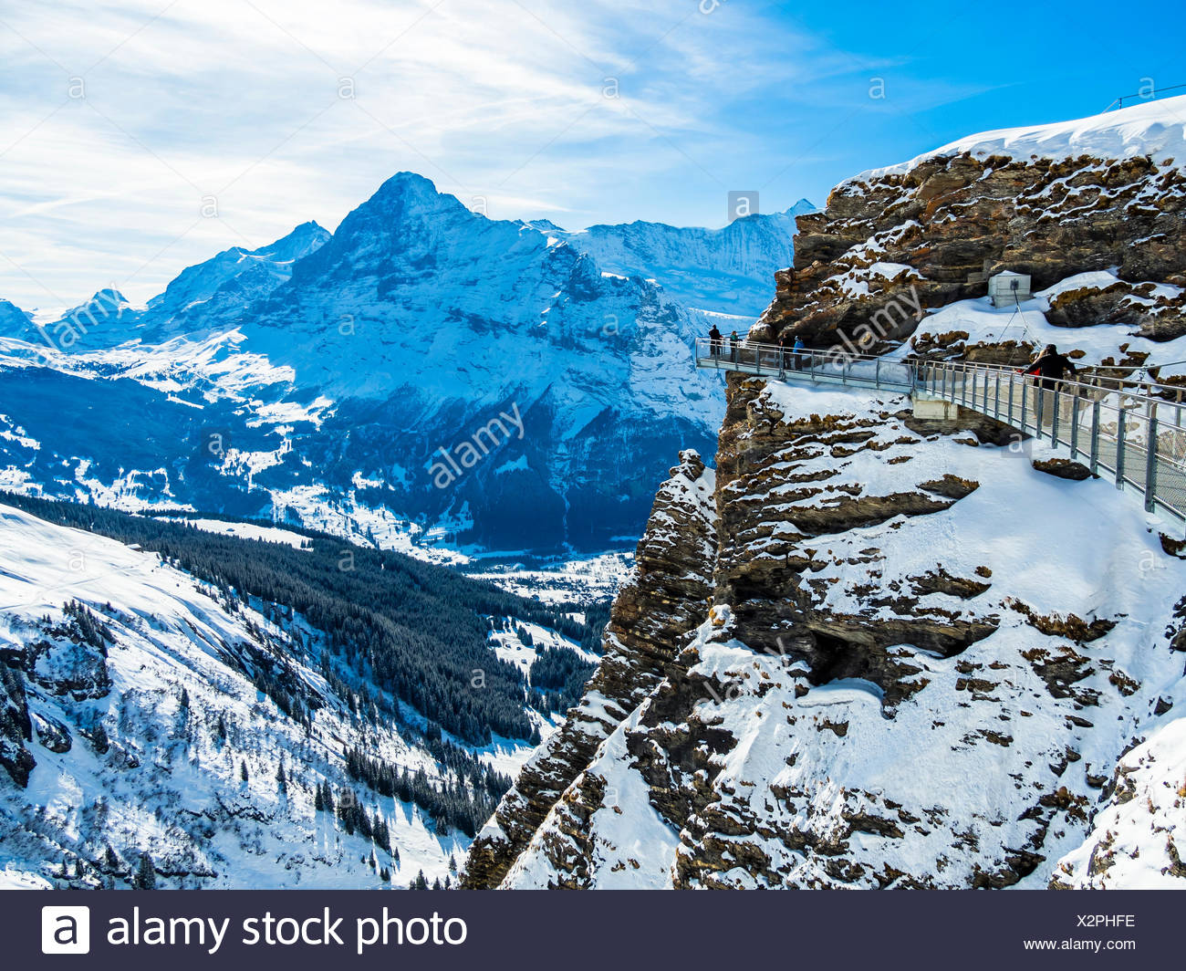 Schweiz, Kanton Bern, Berner Oberland, Interlaken-Oberhasli, First, Grindelwald, Blick vom First Cliff Walk auf den Eiger und die Eiger Nordwand - Stock Image