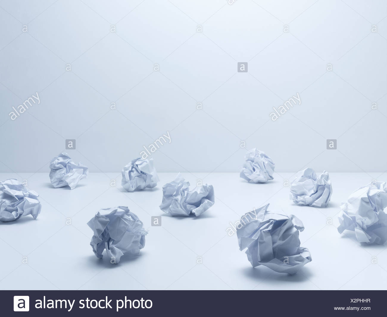 Crumpled balls of paper - Stock Image