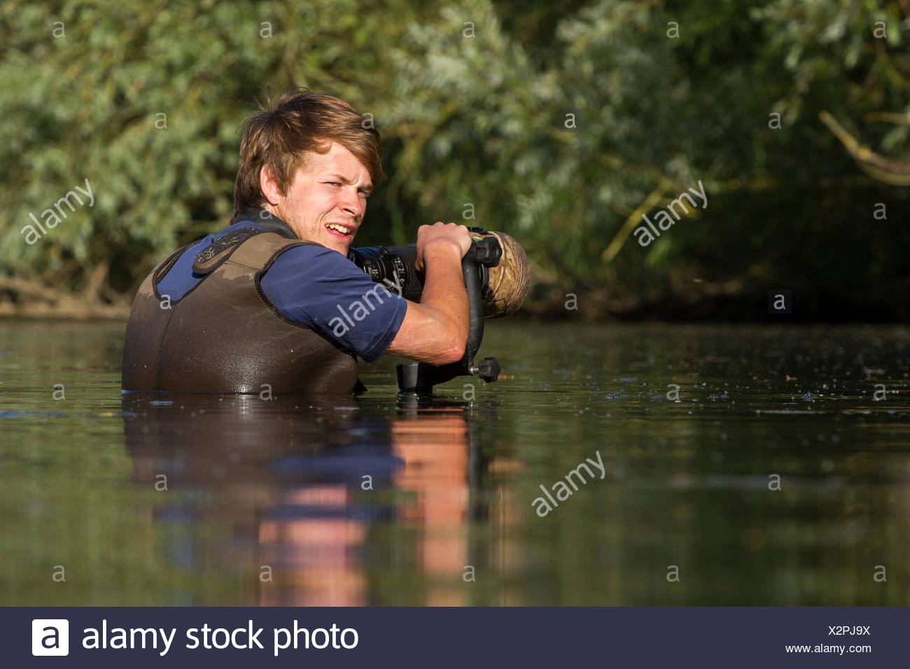 Wildlife photographer, Bertie Gregory, photographing great crested grebes while submerged in a river. Stock Photo
