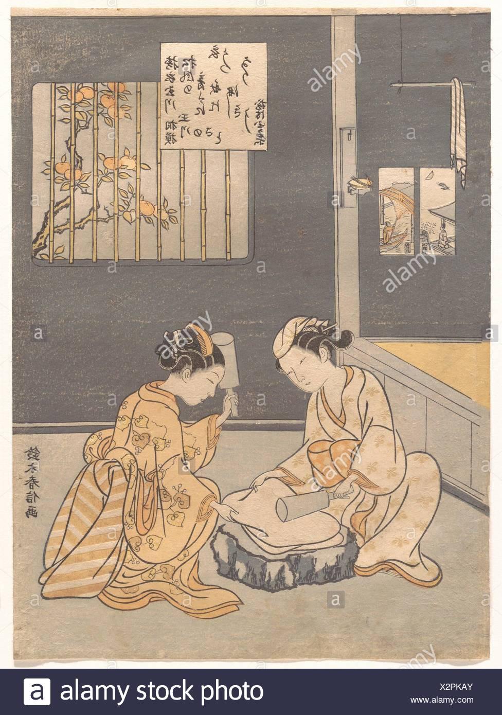 Koromo Uchi Tamagawa/Fulling Cloth at the Jewel River (Kinuta no Tamagawa). Artist: Suzuki Harunobu (Japanese, 1725-1770); Period: Edo period - Stock Image