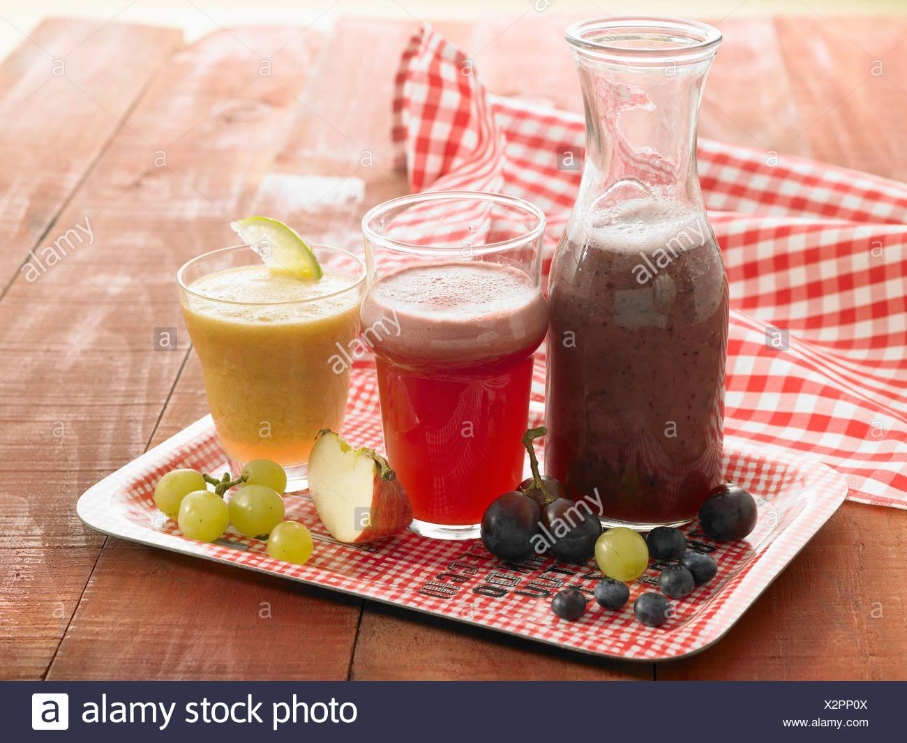 Autumn fruit juices - Stock Image