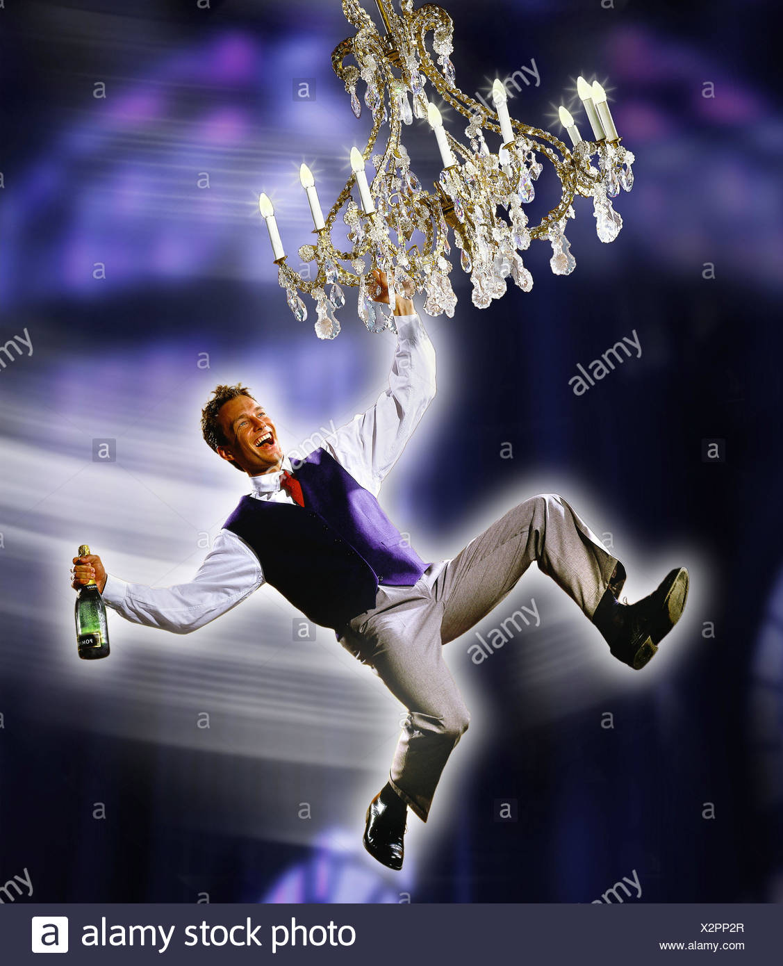 Man Champagne Bottle Chandelier Hang Swing Laugh M Men Composing Studio Celebrate Sparkling Wine Happy Melted High Spirited