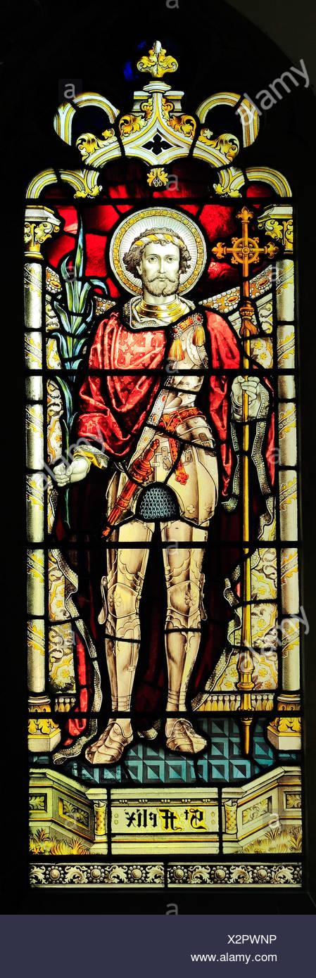 Stained glass, St. Felix, late 19th century window by Heaton, Butler & Bayne, West Newton, Norfolk England UK - Stock Image