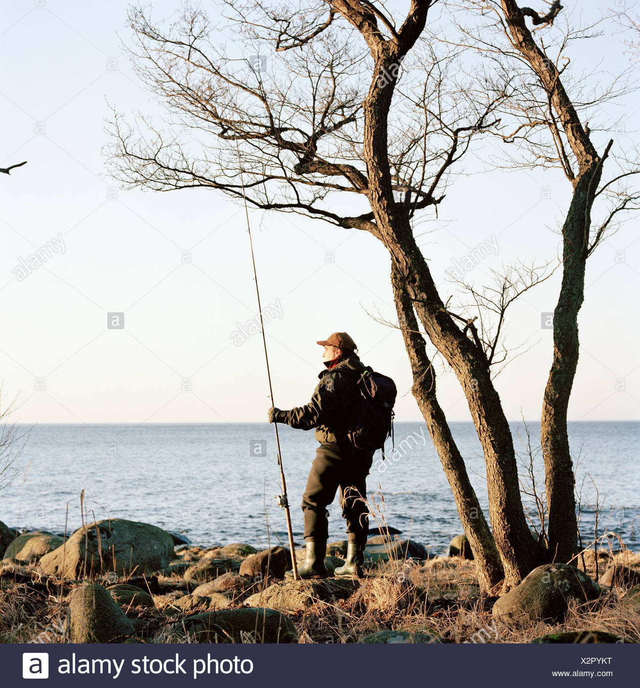 Man fishing by the sea, Sweden. - Stock Image