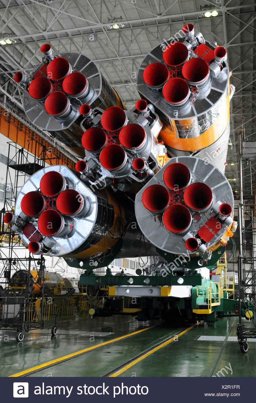 Soyuz Rocket and Soyuz Spacecraft in Baikonur - Stock Image