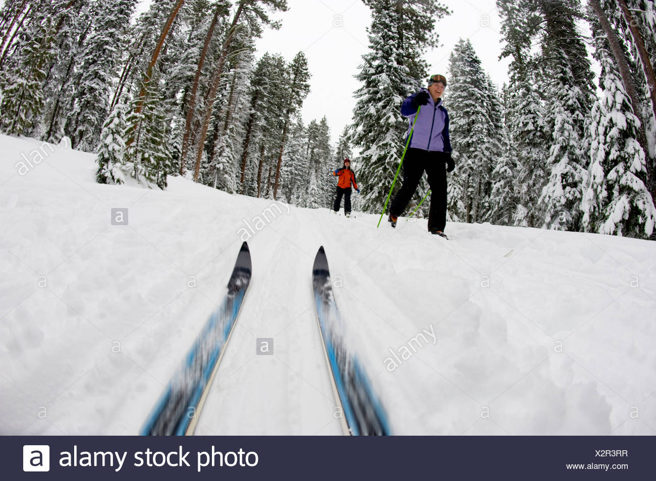 Low angle view of cross country ski tips and two young women nordic skiing on a cross country trail in the snow in Bend, Oregon. - Stock Image