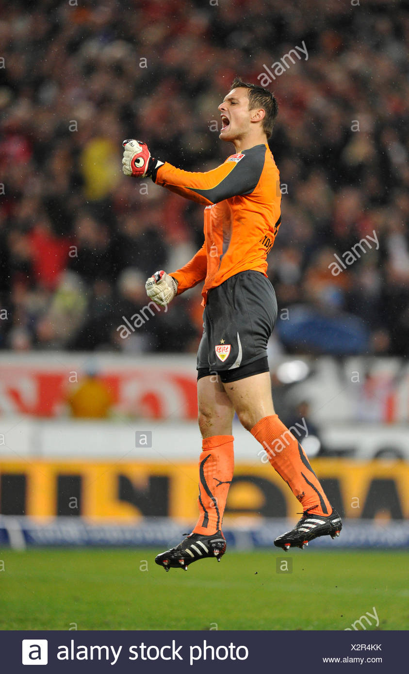 Celebrating a goal, goalie Sven Ulrey, VfB Stuttgart football club - Stock Image