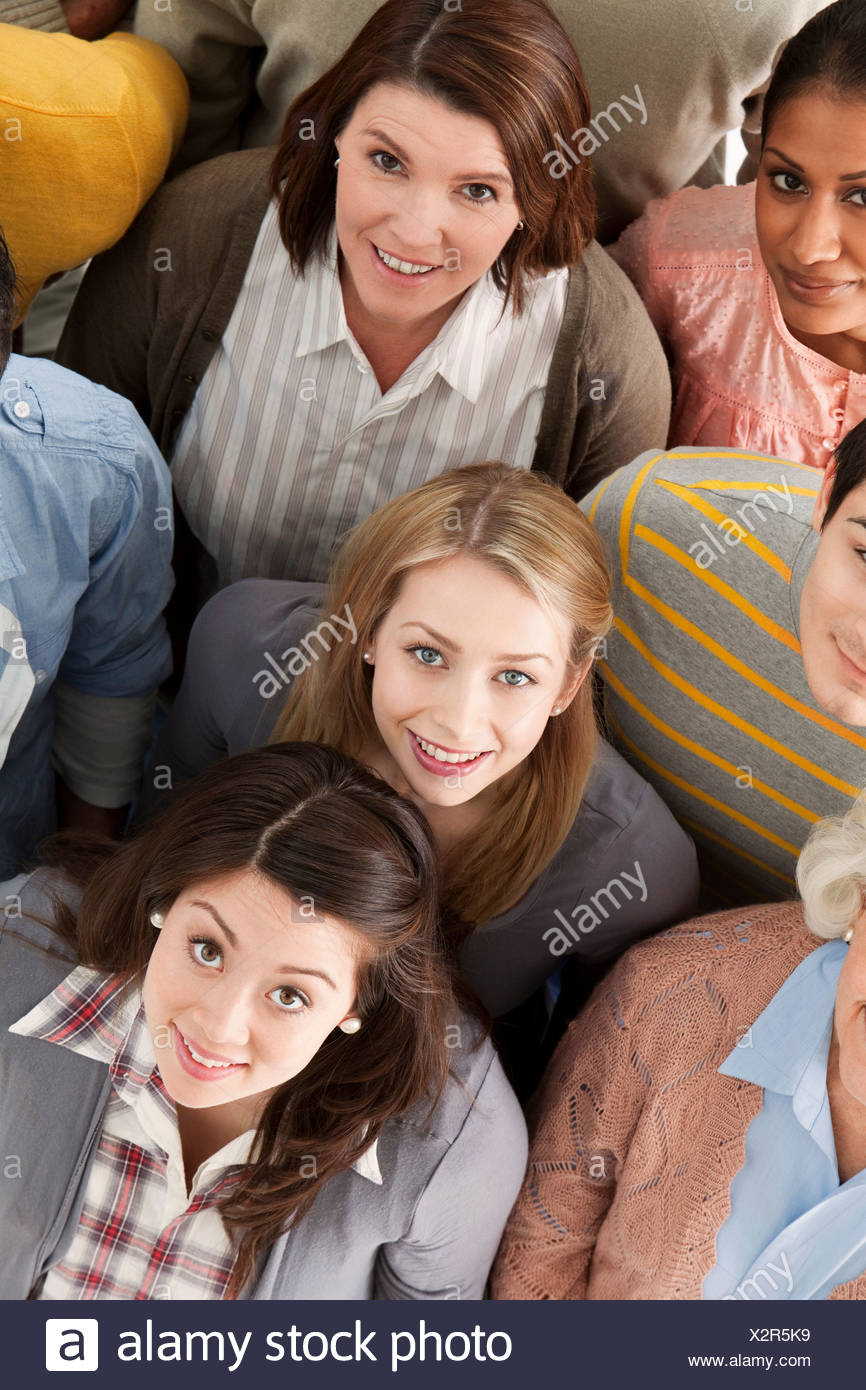 Portrait of group of people looking at camera, high angle Stock Photo