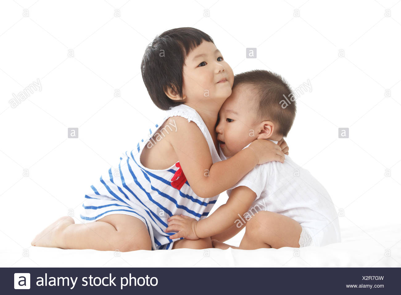 Elder sister and younger brother - Stock Image