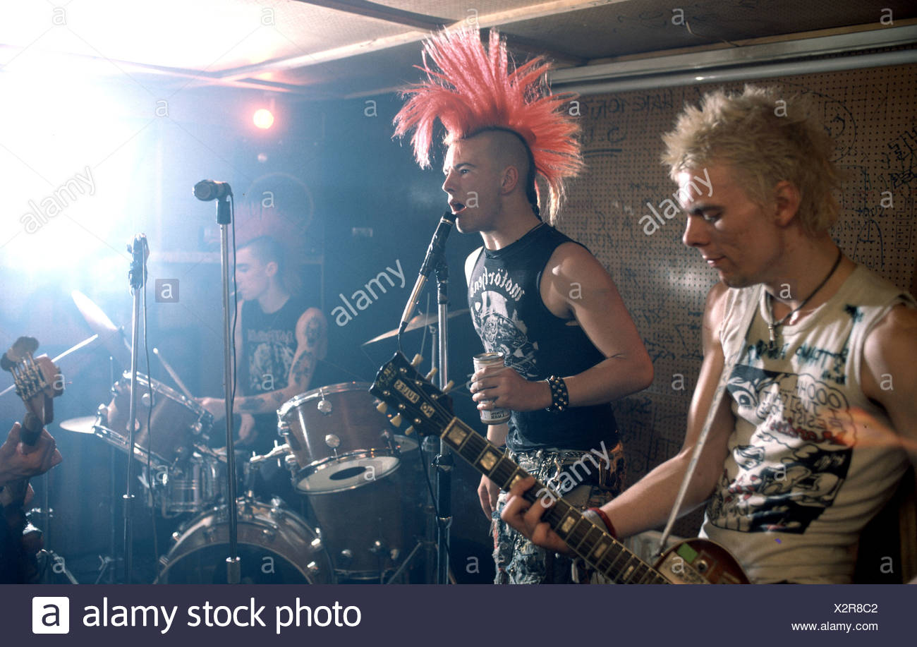 Punk band performing live - Stock Image