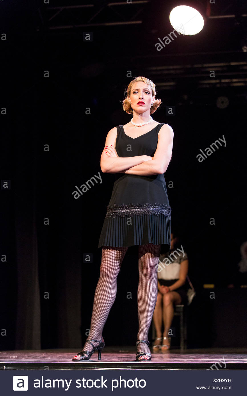 Musical 'Chicago' with Natascha-Cecillia Hill as Velma Kelly, live performance, Le Théâtre in Kriens, Lucerne, Switzerland - Stock Image