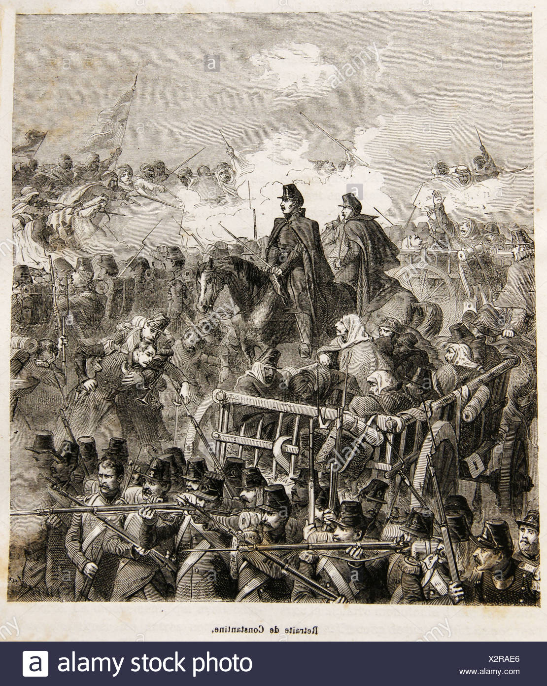 ´Retraite de Constantine´, French troops during the colonisation of Algiers (19th century) - Stock Image