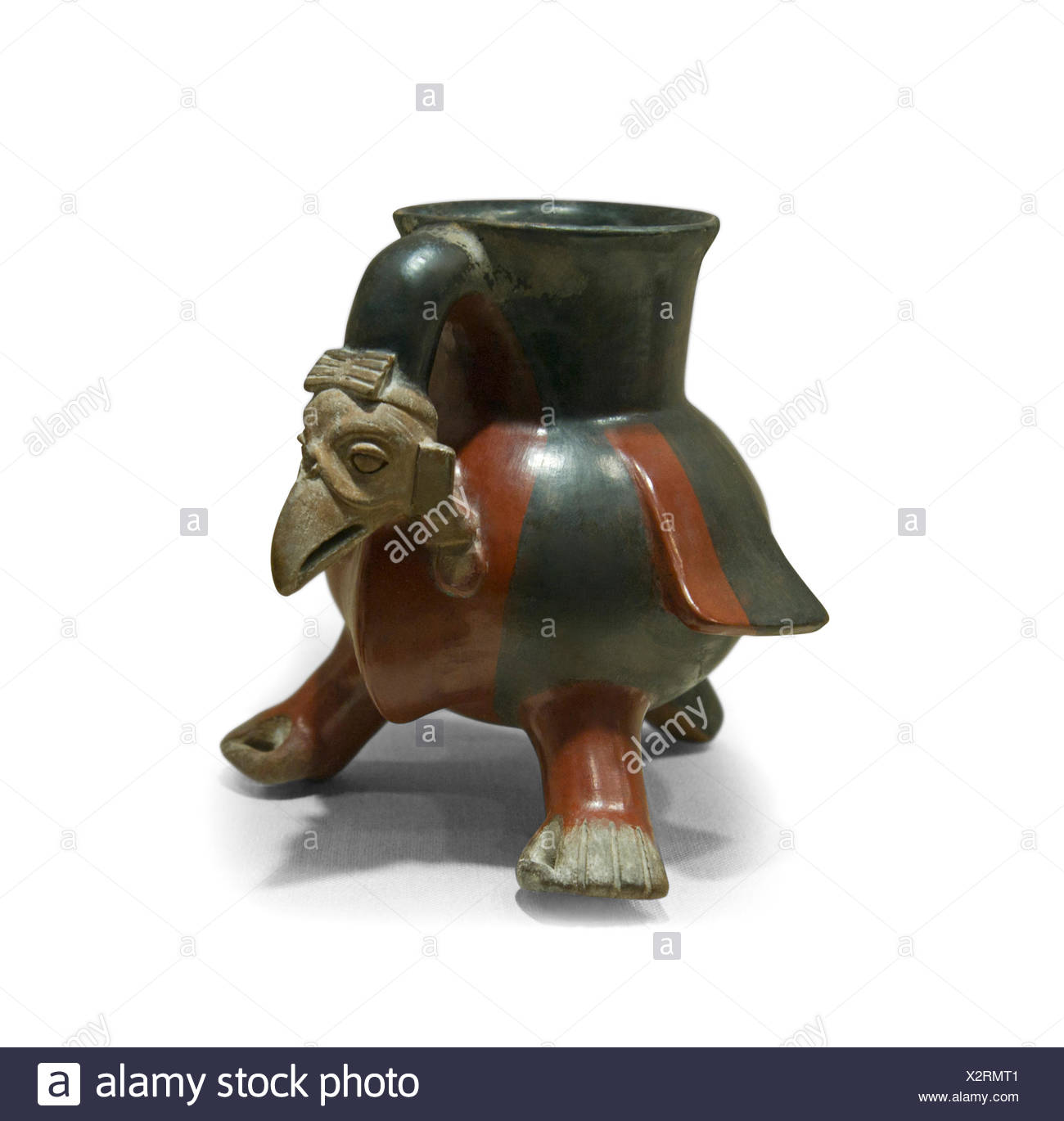 Aztec ceramic vulture shaped vessel dates to 14th to early 16th century from Mexico - Stock Image