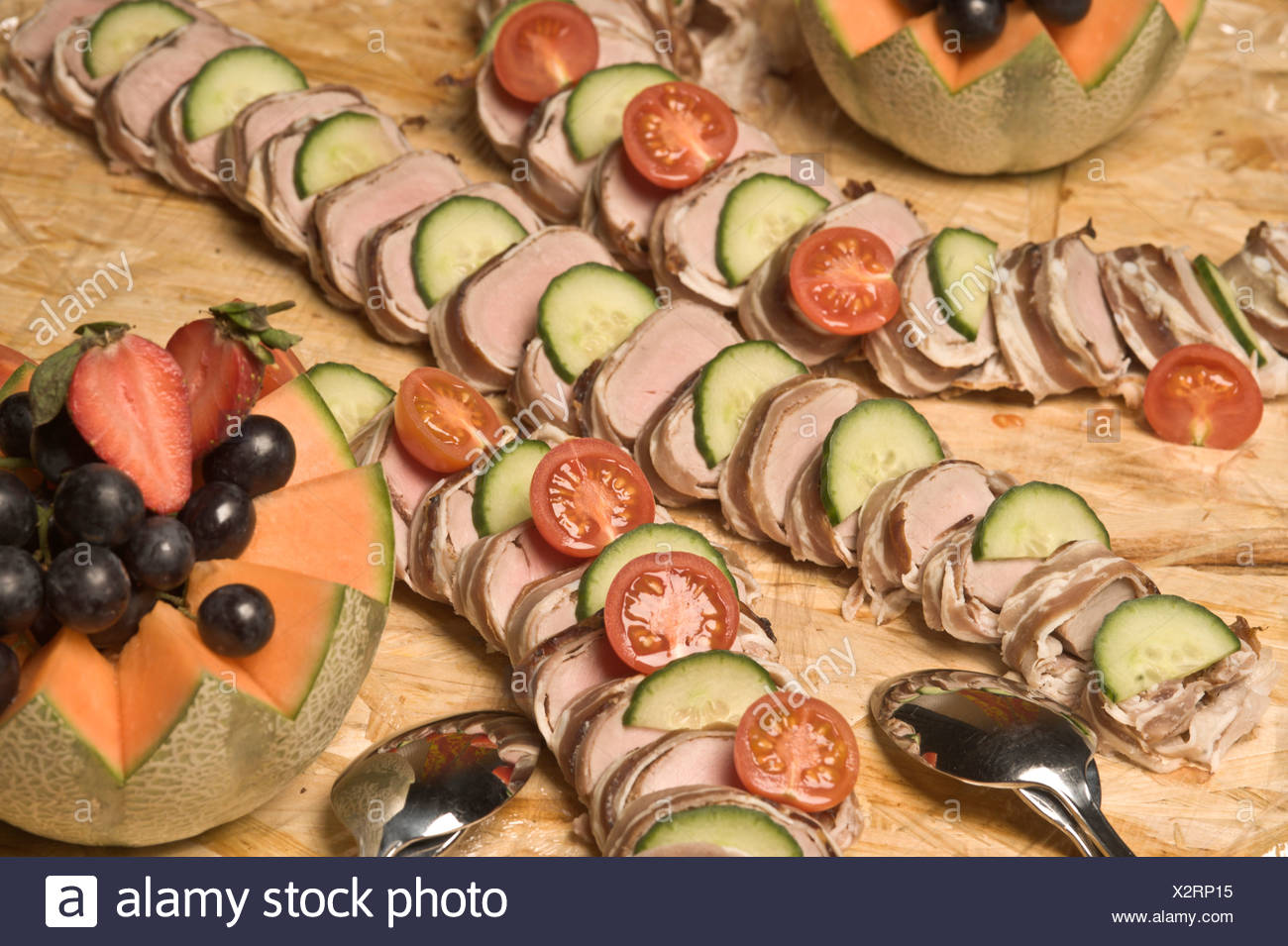 Cold cuts with pork medaillons, buffet, food Stock Photo