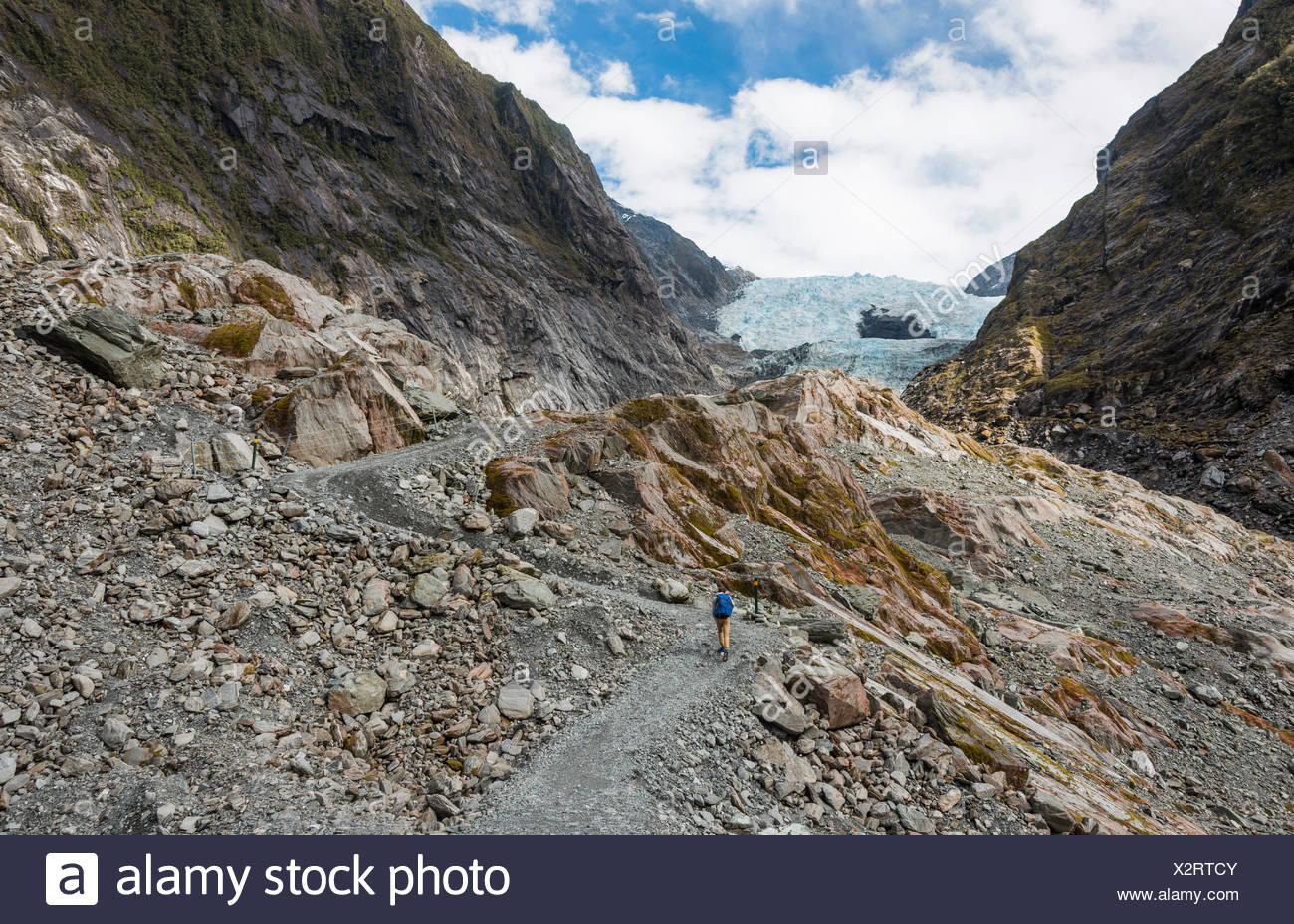 Glacier tongue, Franz Josef Glacier, West Coast, Southland, New Zealand - Stock Image