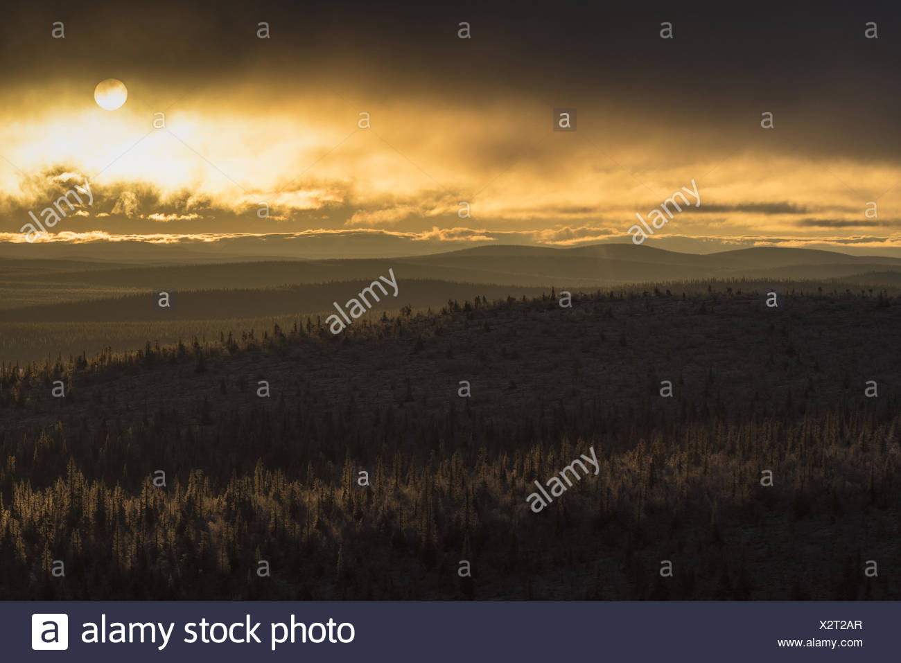 Evening mood, Lapland, Sweden Stock Photo