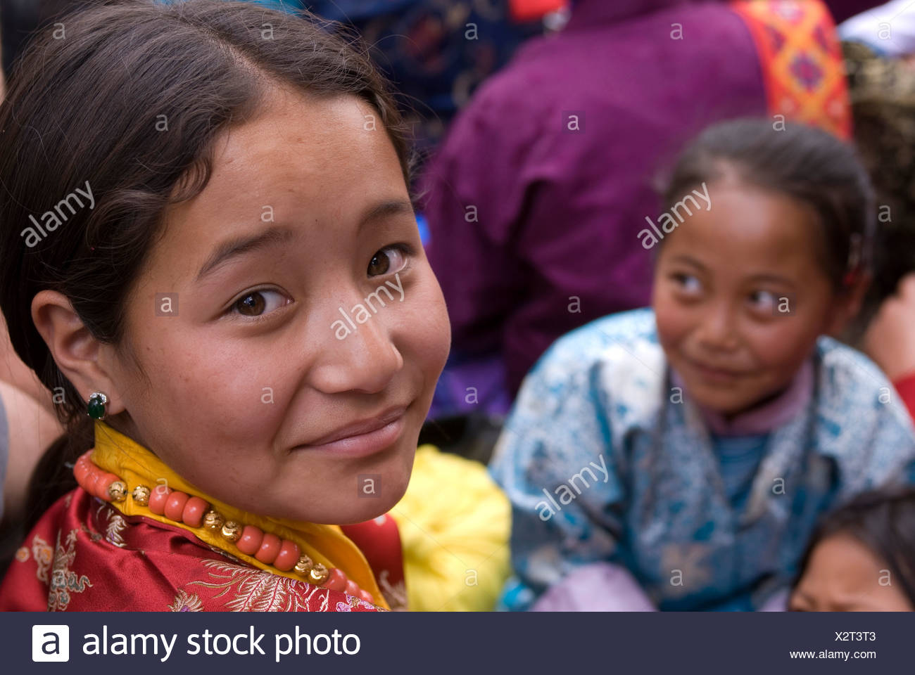 Young girls at Tsechu Paro, Bhutan, Asia - Stock Image