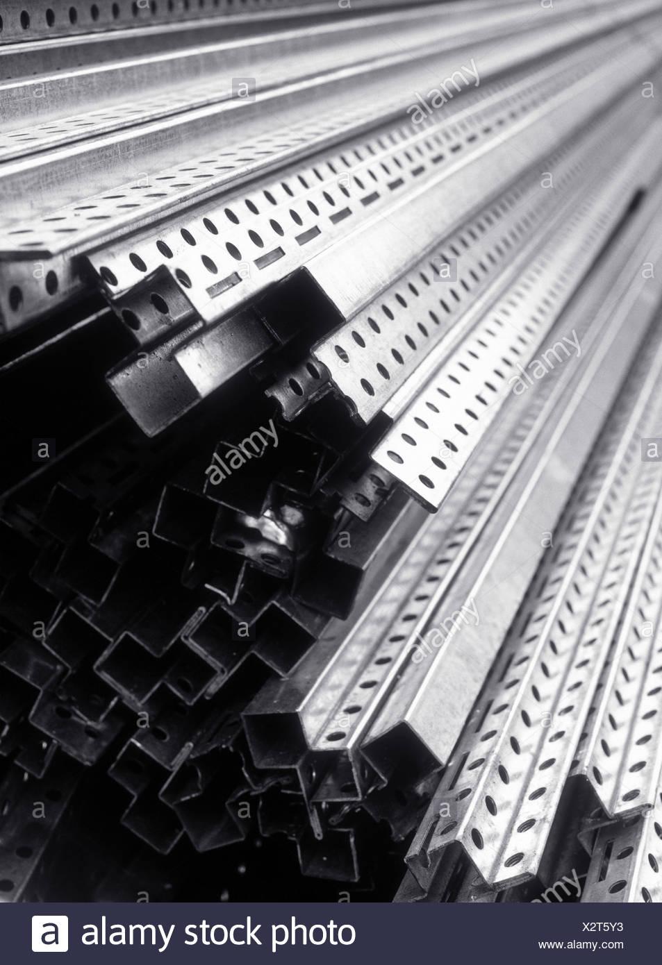 Ironworks, U treads, storage, b/w, production, steel, steel