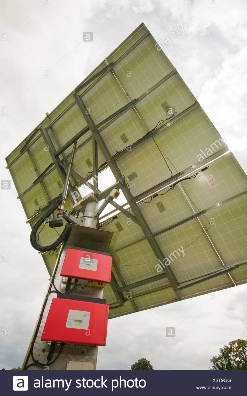 A solar panel at the Bowland wild Boar Park, which is off grid. - Stock Image