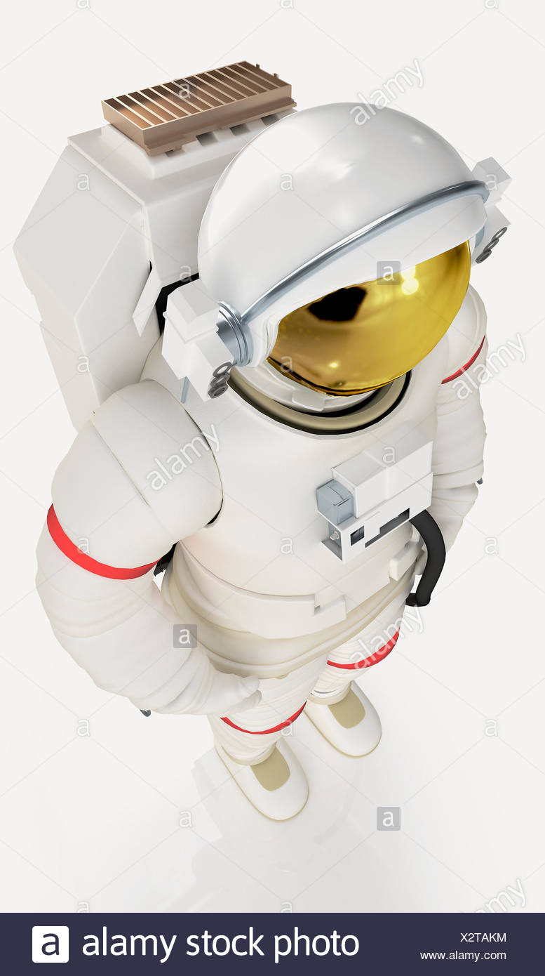 Model of astronaut in spacesuit, high angle view - Stock Image