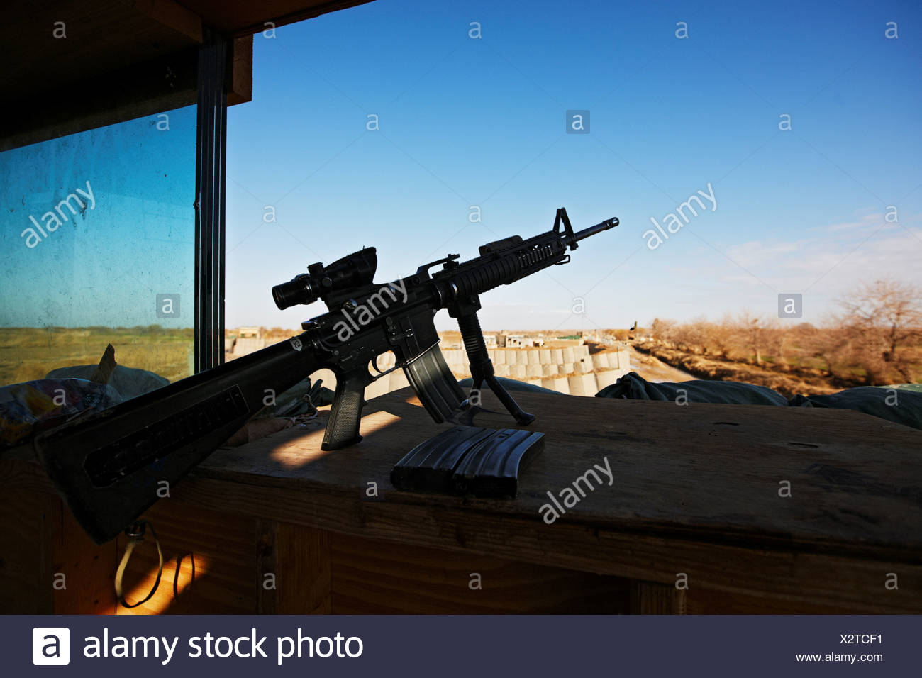 An M4 Carbine at Rest - Stock Image