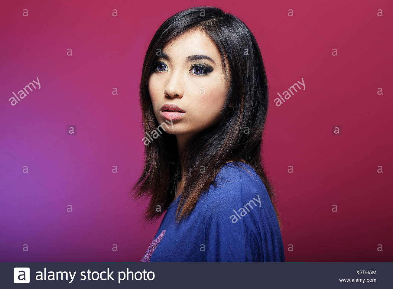Woman Profile Blue Beautiful Beauteously Nice Big Large Enormous Stock Photo Alamy