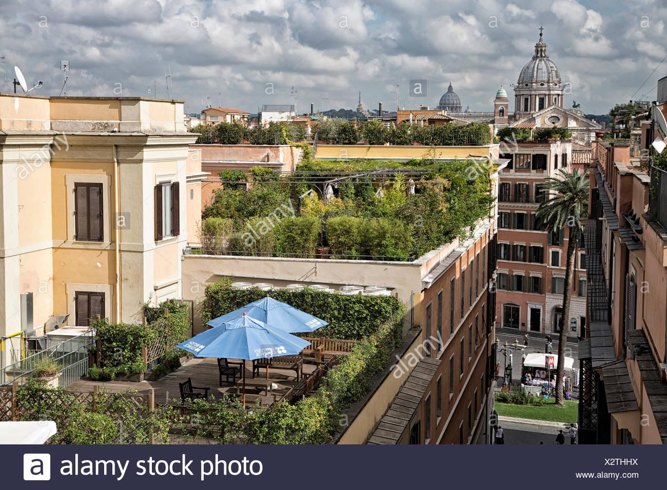 Accademia, academy, roof, Francia, France, garden, green, capital, Italy, Europe, Rome, terrace, villa Borghese, villa Medici - Stock Image