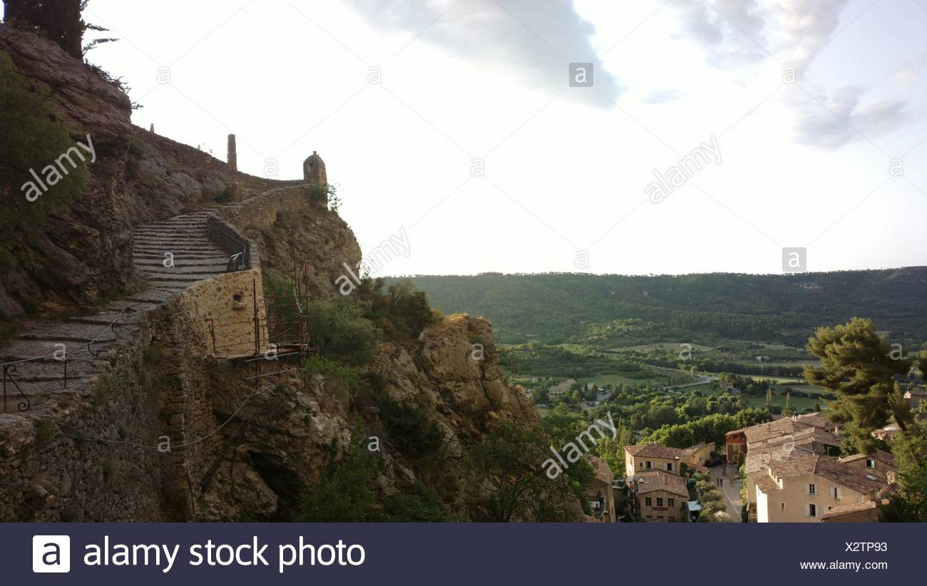 Rocky Mountains Against Sky At Moustiers-Sainte-Marie Stock Photo