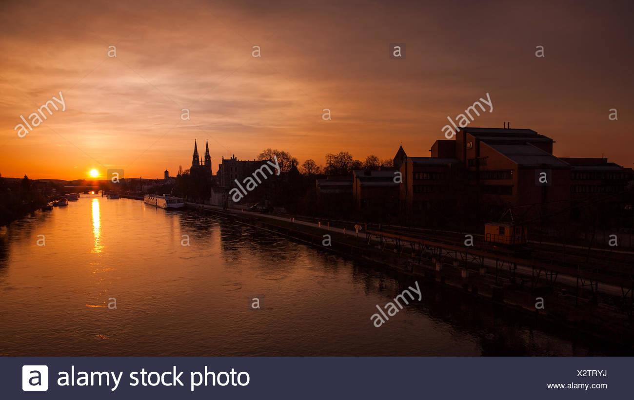 Regensburg Sonnenuntergang Stock Photo
