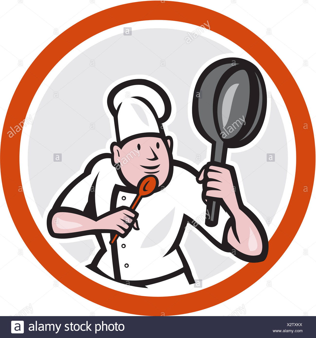 Illustration of a chef cook holding frying pan in kung fu ...