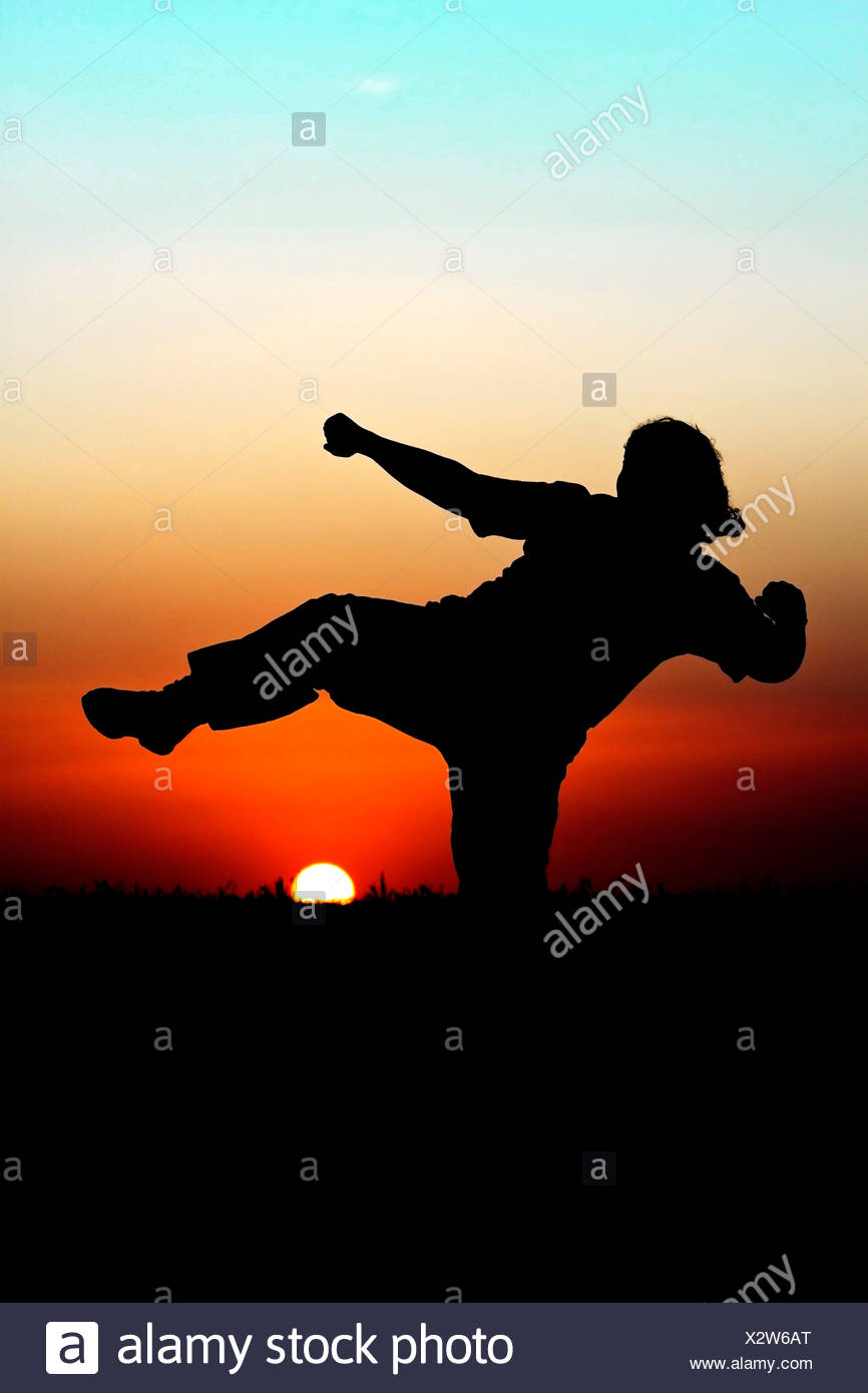Silhouette of person performing martial arts in front of  beautiful sunset - Stock Image