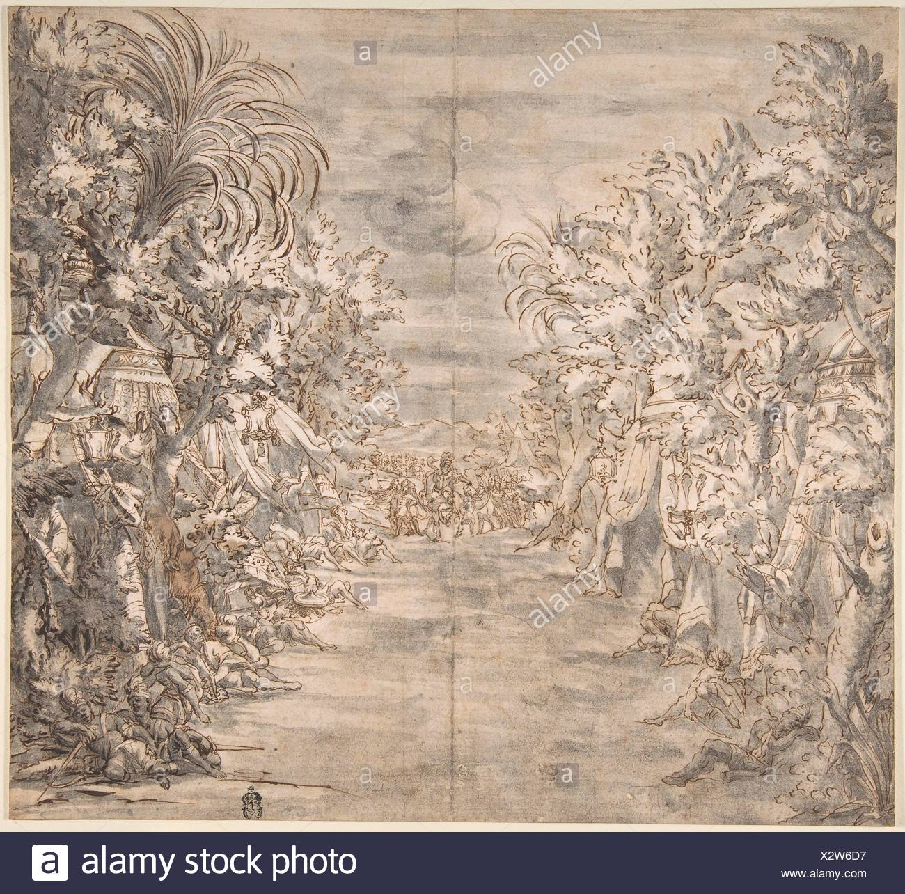 Ornamental Theater Scene with Trees. Artist: Anonymous, Italian, 17th or 18th century; Date: 17th-18th century; Medium: Pen and brown ink, brush and Stock Photo