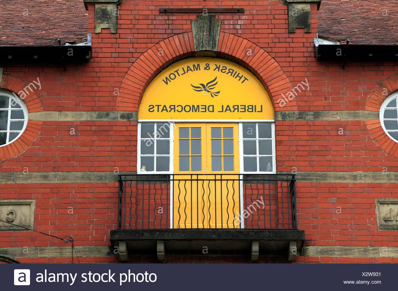 Liberal Democrats, local Thirsk & Malton party HQ, Pickering, Yorkshire England UK Politics political parties Democratic - Stock Image