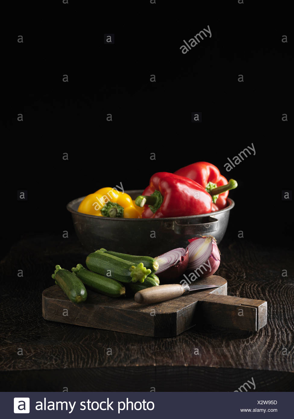 Cucumbers, onion and bell peppers Stock Photo