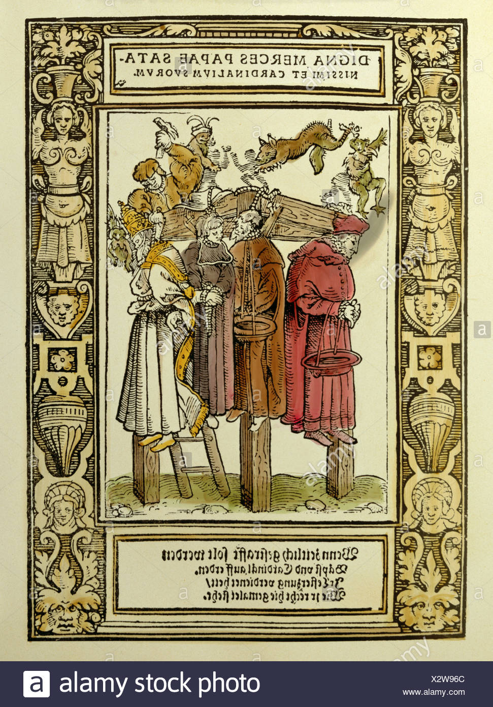 Luther, Martin, 10.11.1483 - 18.2.1546, German reformer, works, 'Against the Papacy at Rome, Founded by the Devil', title,  Wittenberg, 1545, coloured title, private collection, , Additional-Rights-Clearances-NA - Stock Image