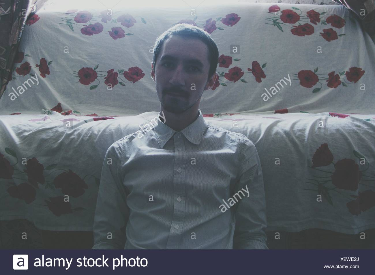 Portrait Of Man At Home - Stock Image