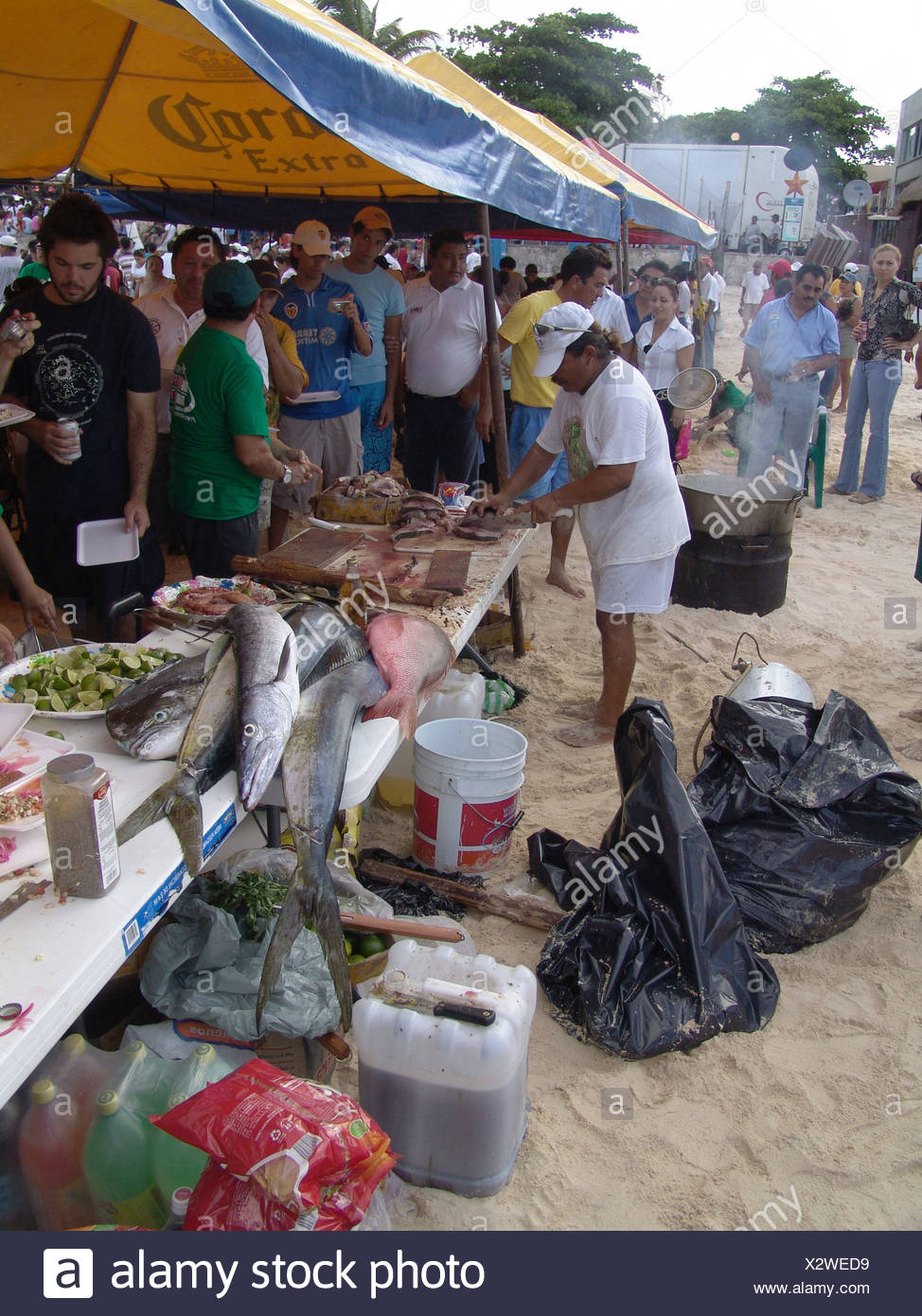 Mexico Yucatan fisher-party Central America people party event celebrates fishers natives enjoyments sociability Mexicans - Stock Image