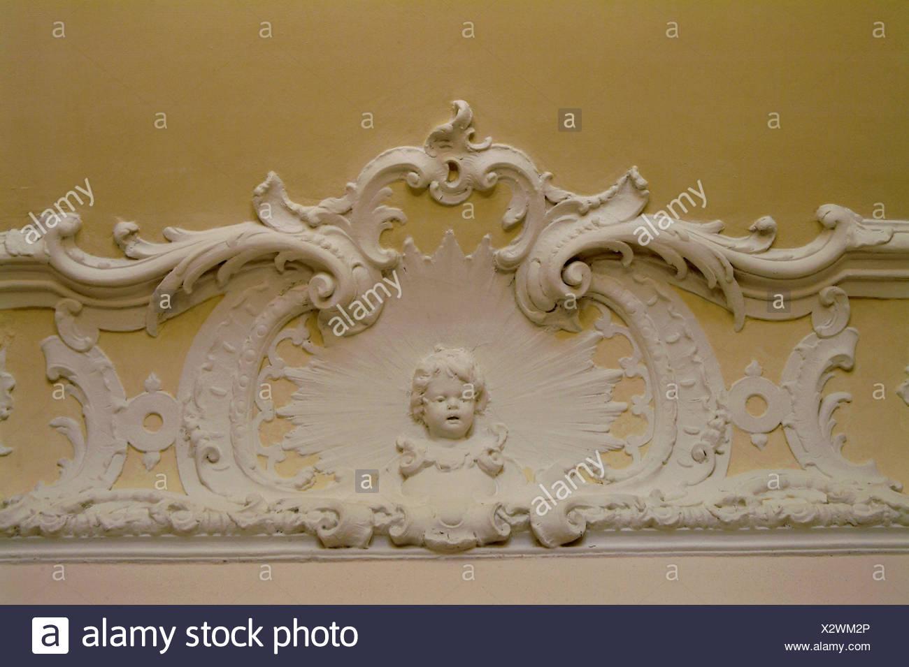Wall, Stucco, Angels, Ornamentation, Interior, Decoration, Ornamentations,  Plaster, Stucco, Putto, Skillfully, Nobly, Art, Plastic, Interior Decoration,  ...