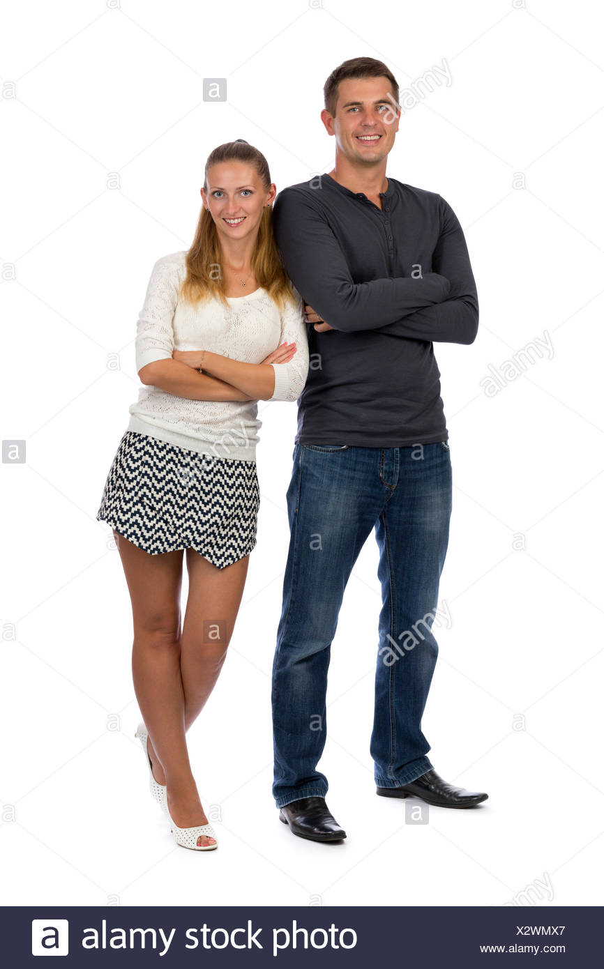 Beautiful young couple in love to his full height. - Stock Image
