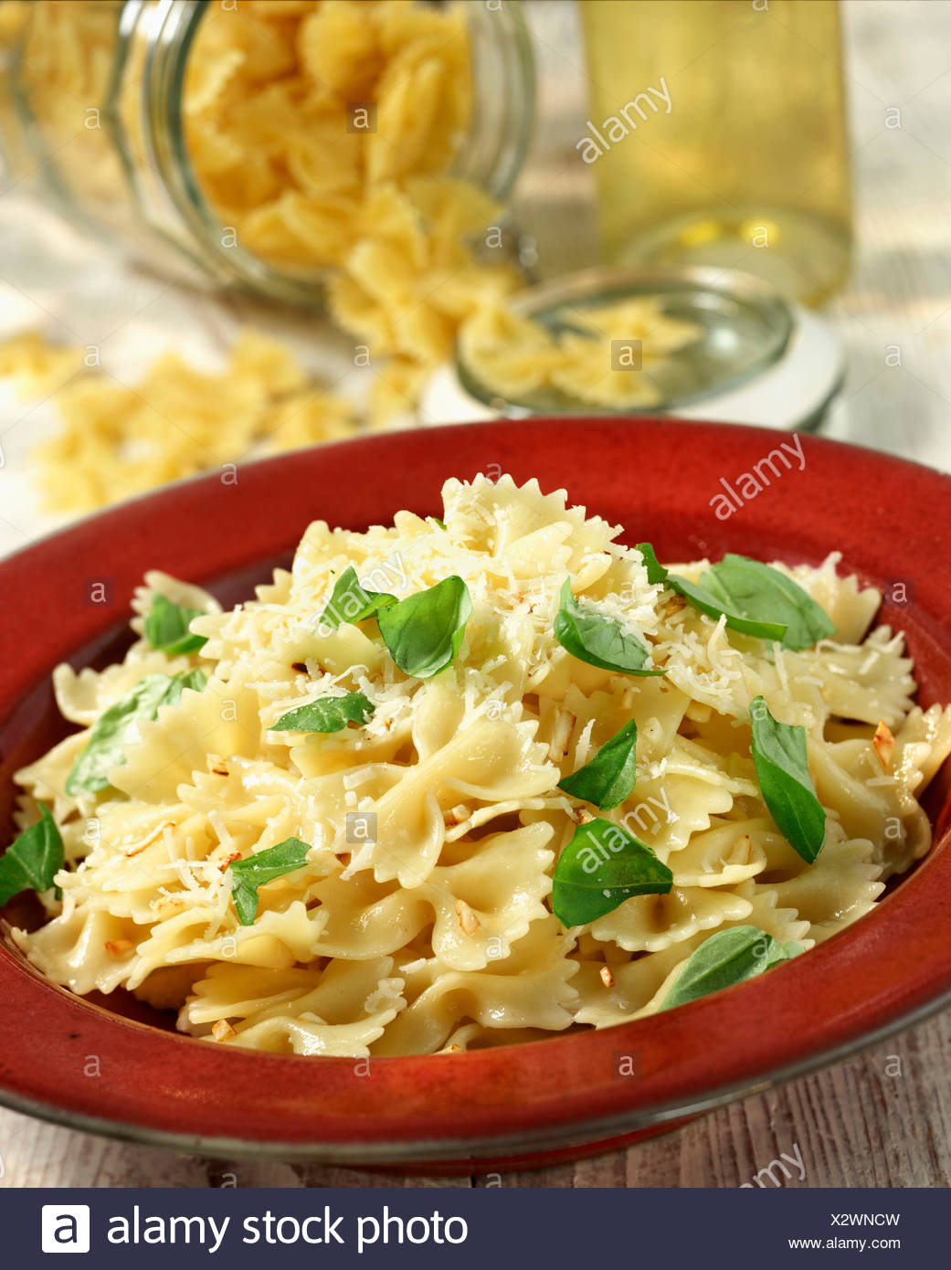 Plate Of Homemade Farfalle With Oil And Garlic - Stock Image