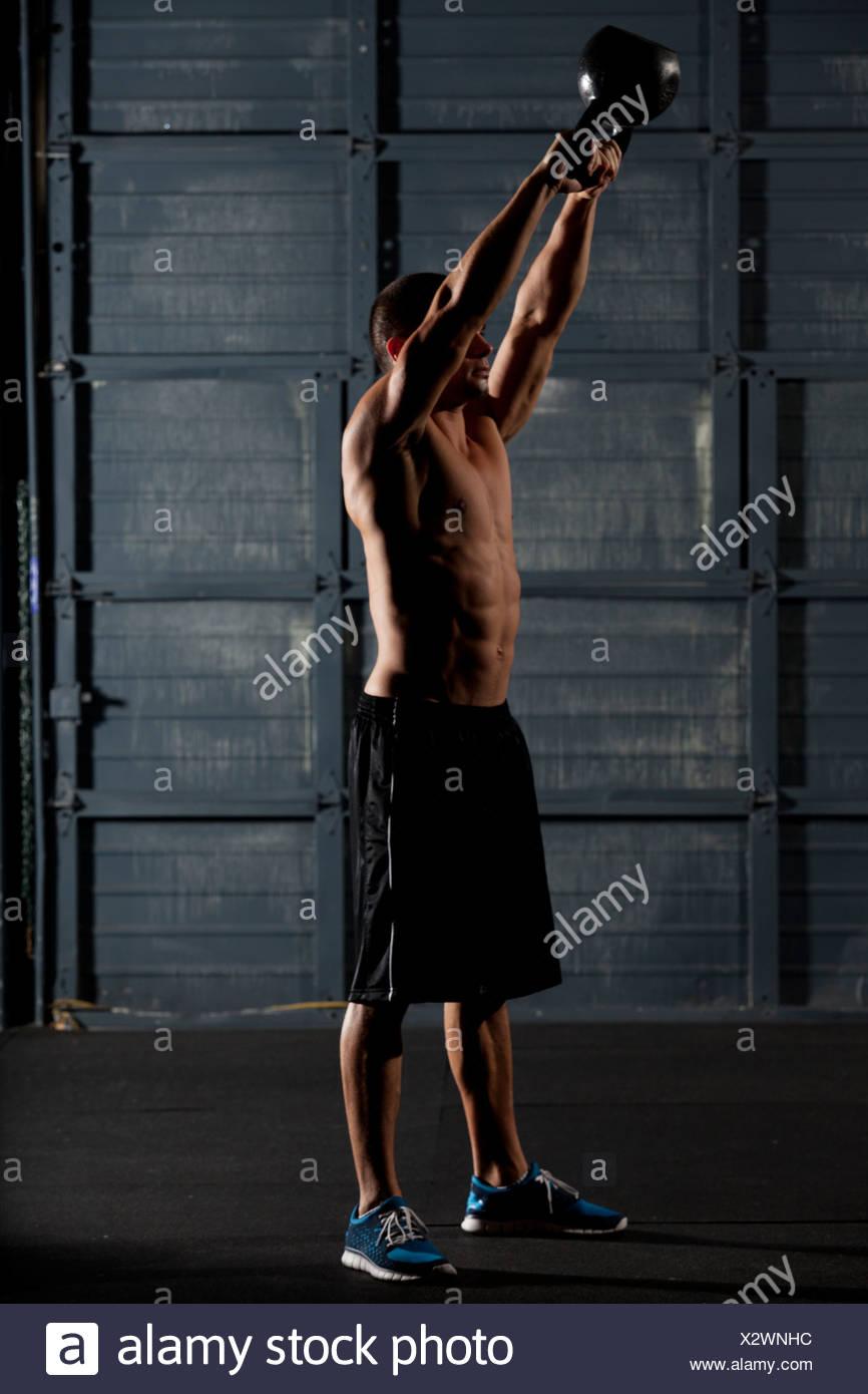 fit man doing training exercises. - Stock Image