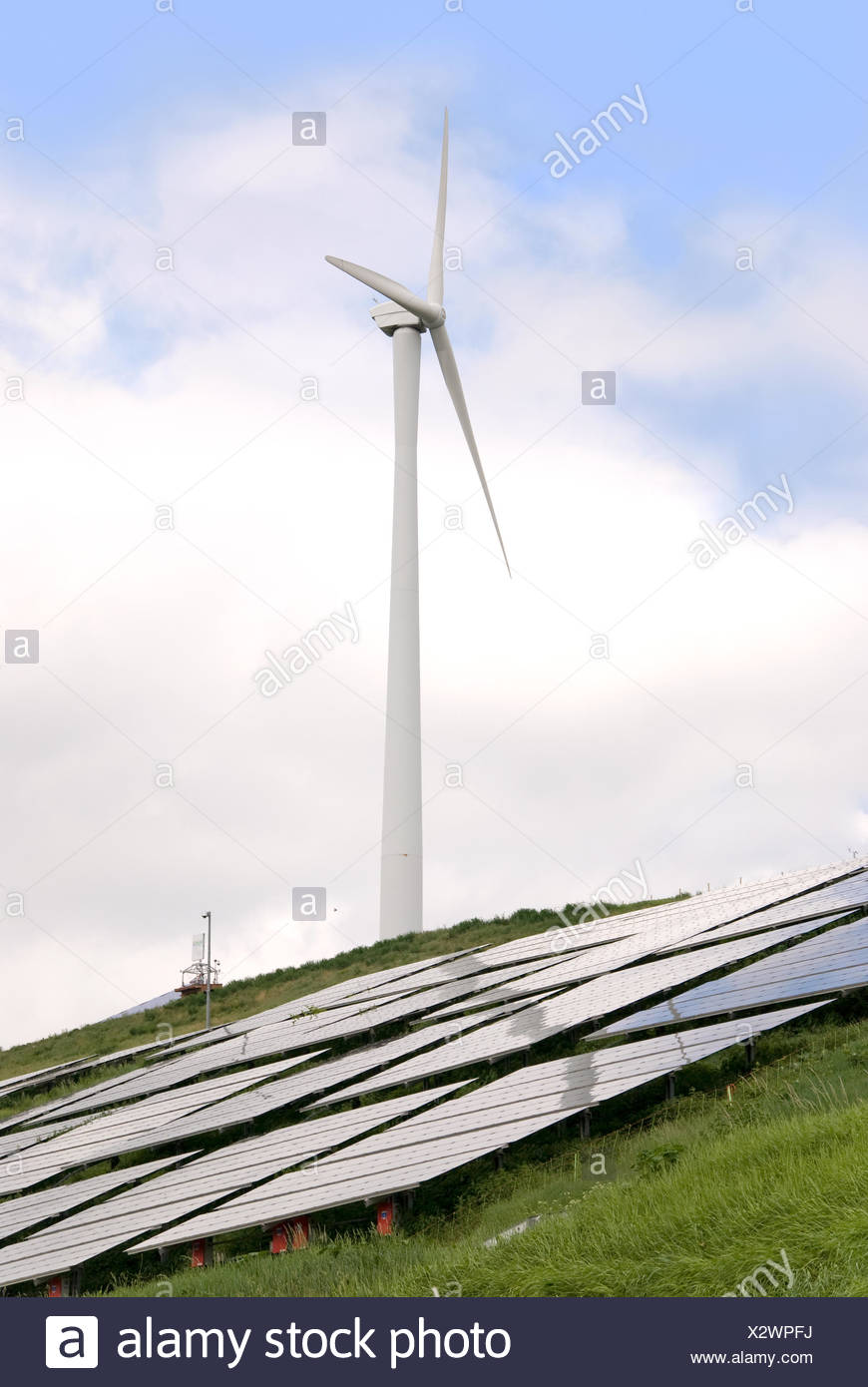 solar and wind power - Stock Image